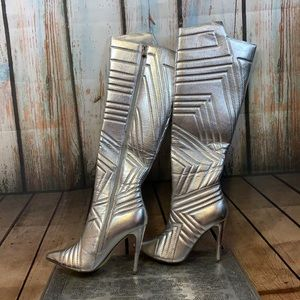 Jubilee Over-the-Knee Metallic Silver Quilted High Heel Boots Size 8.5